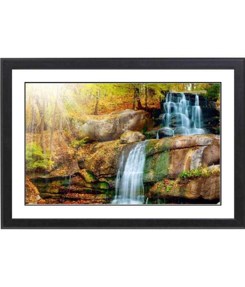 CRAFTSFEST Vaastu Waterfall MDF Painting With Frame- (30cmX20cmX1.5cm)