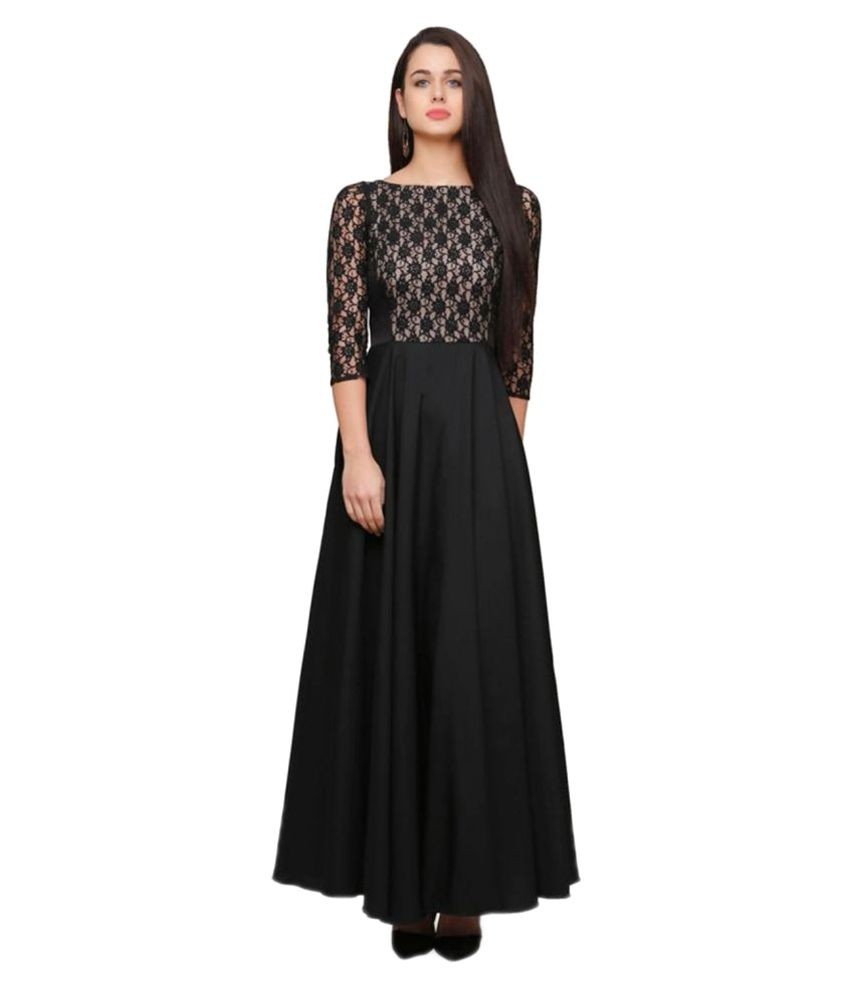 Apex Apparels Black Crepe Anarkali Stitched Suit