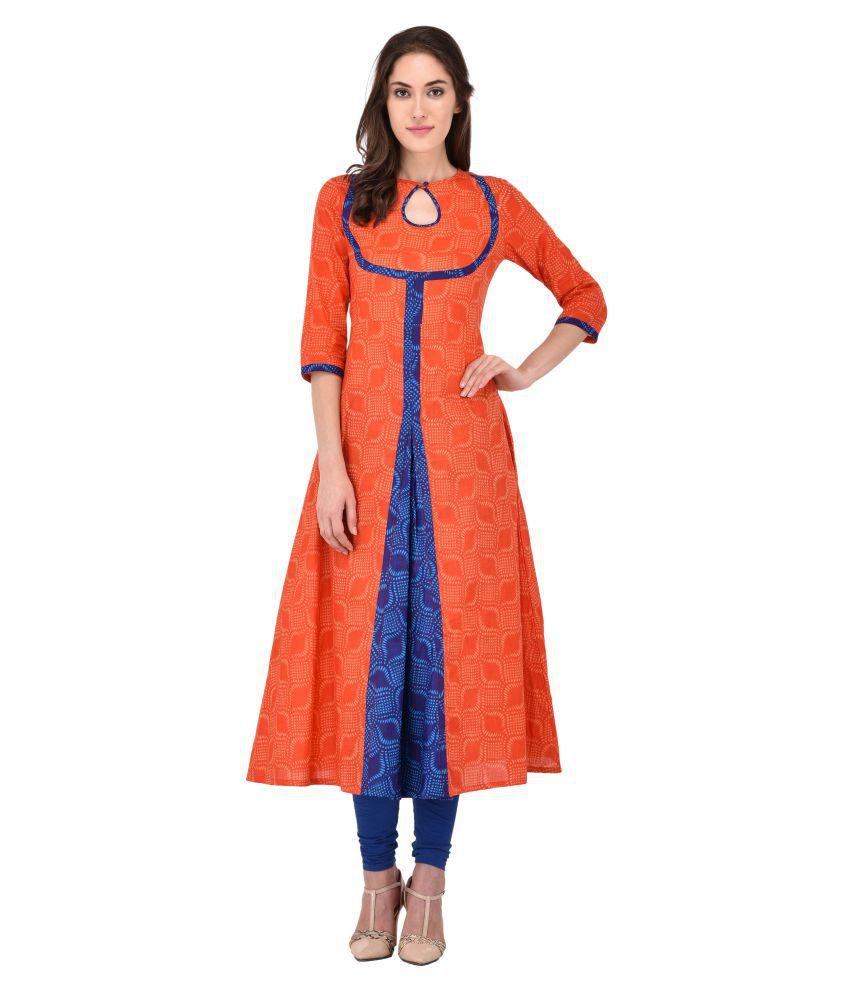 Rudia Creation Orange Cotton A-line Kurti