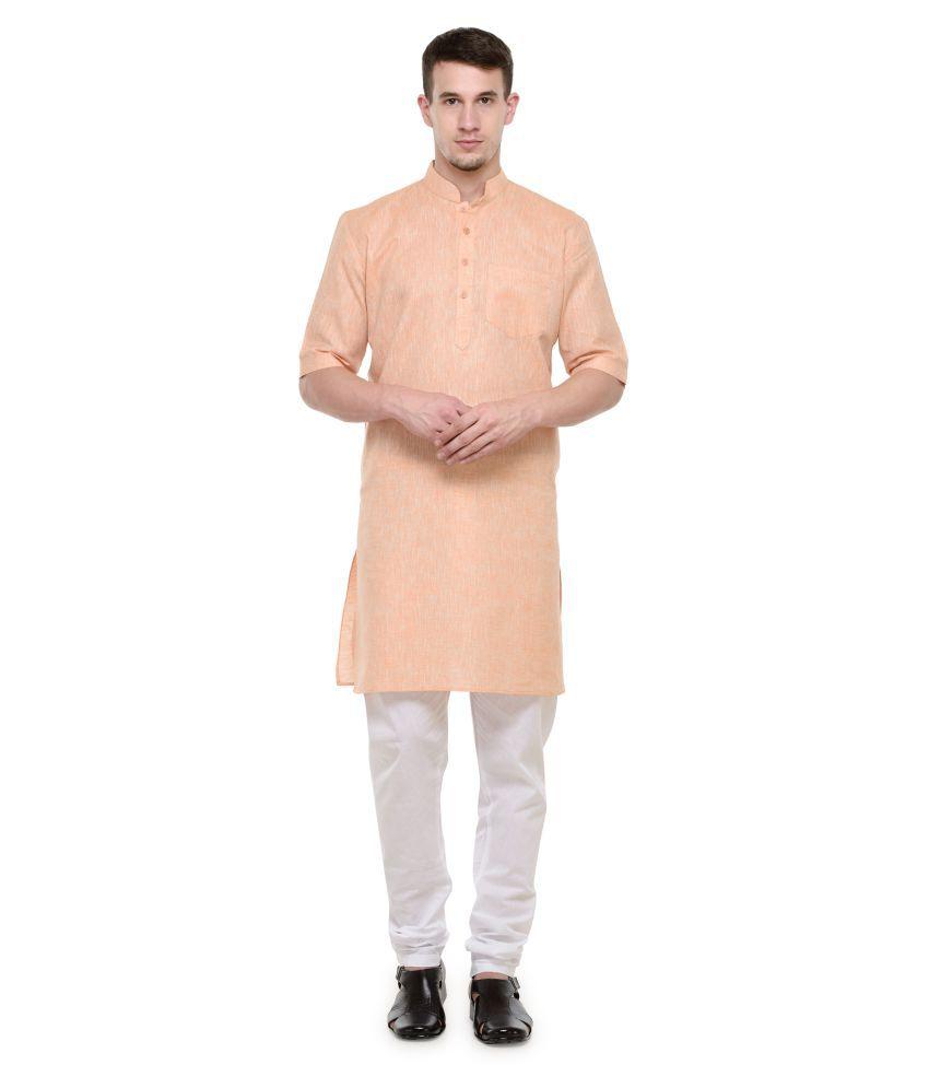 RG Designers Peach Cotton Kurta Pyjama Set Pack of 1