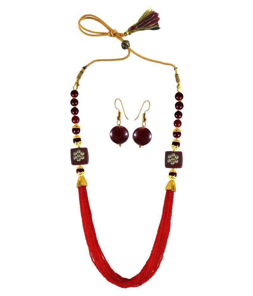 Unique Multi Layered Red Beads Mala with Semi Precious Stone