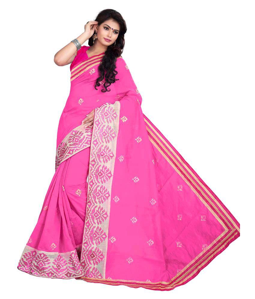 Eco Poly Hub Pink Cotton Saree