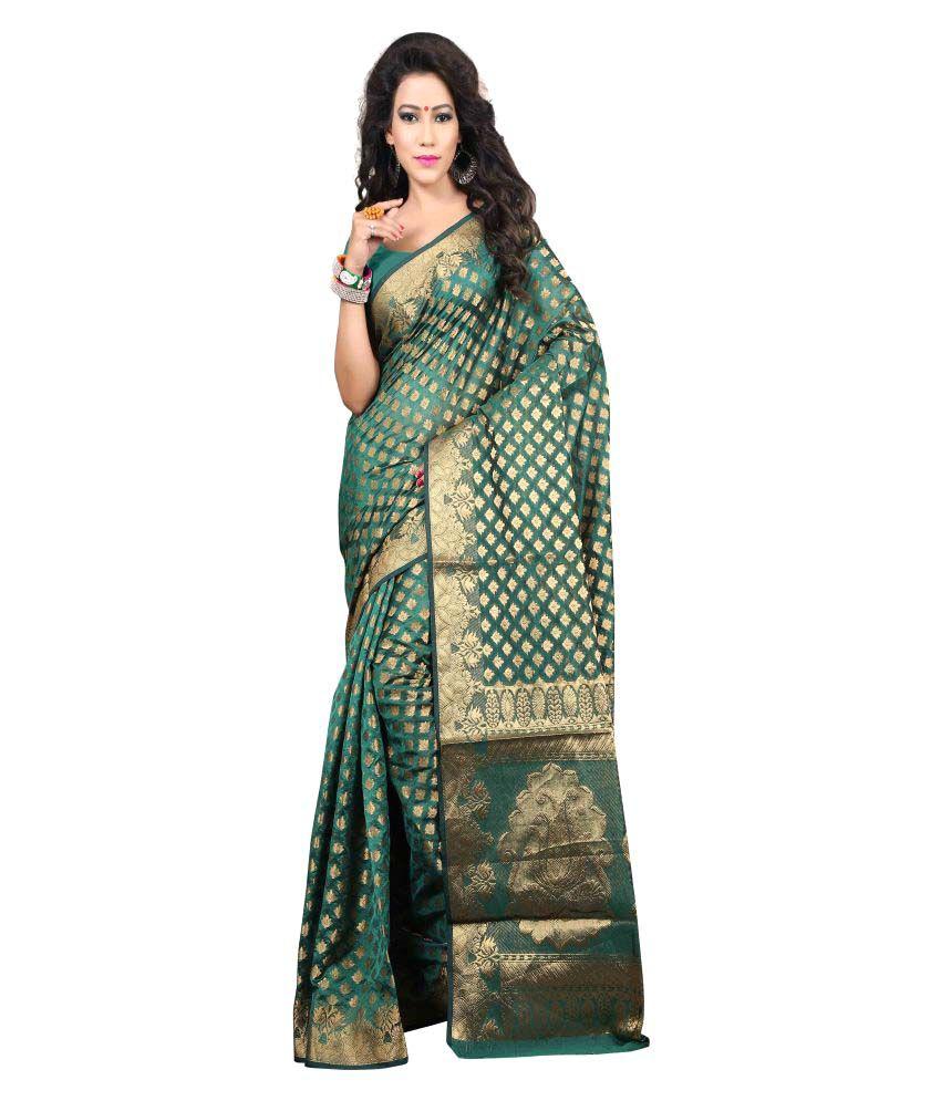 SILK ZONE Green Silk Saree