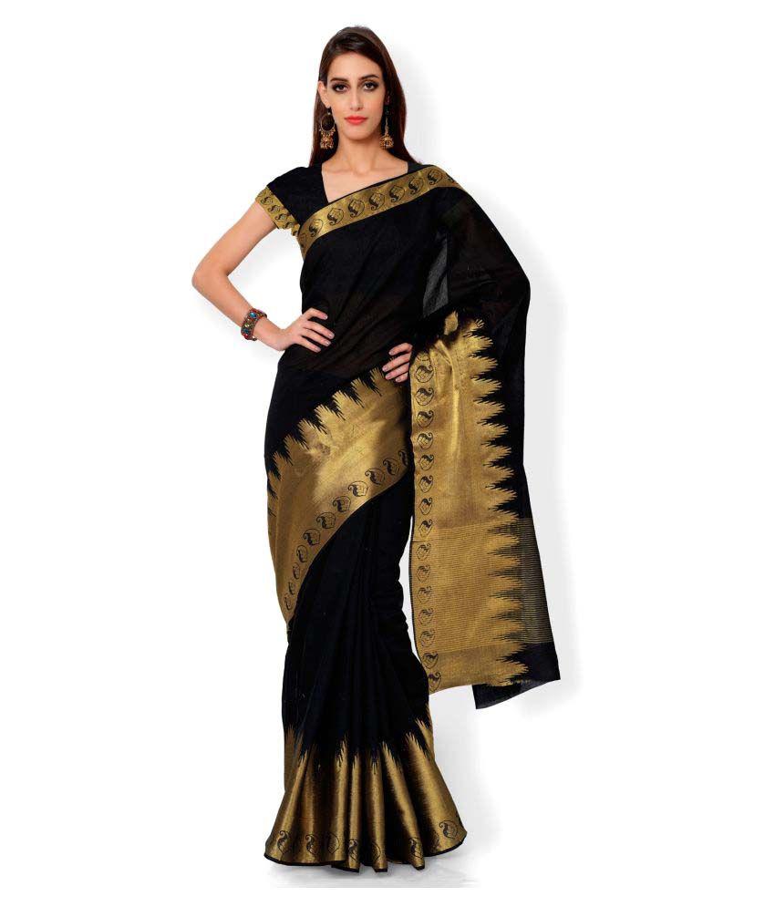 The Lugai Fashion Black Cotton Saree