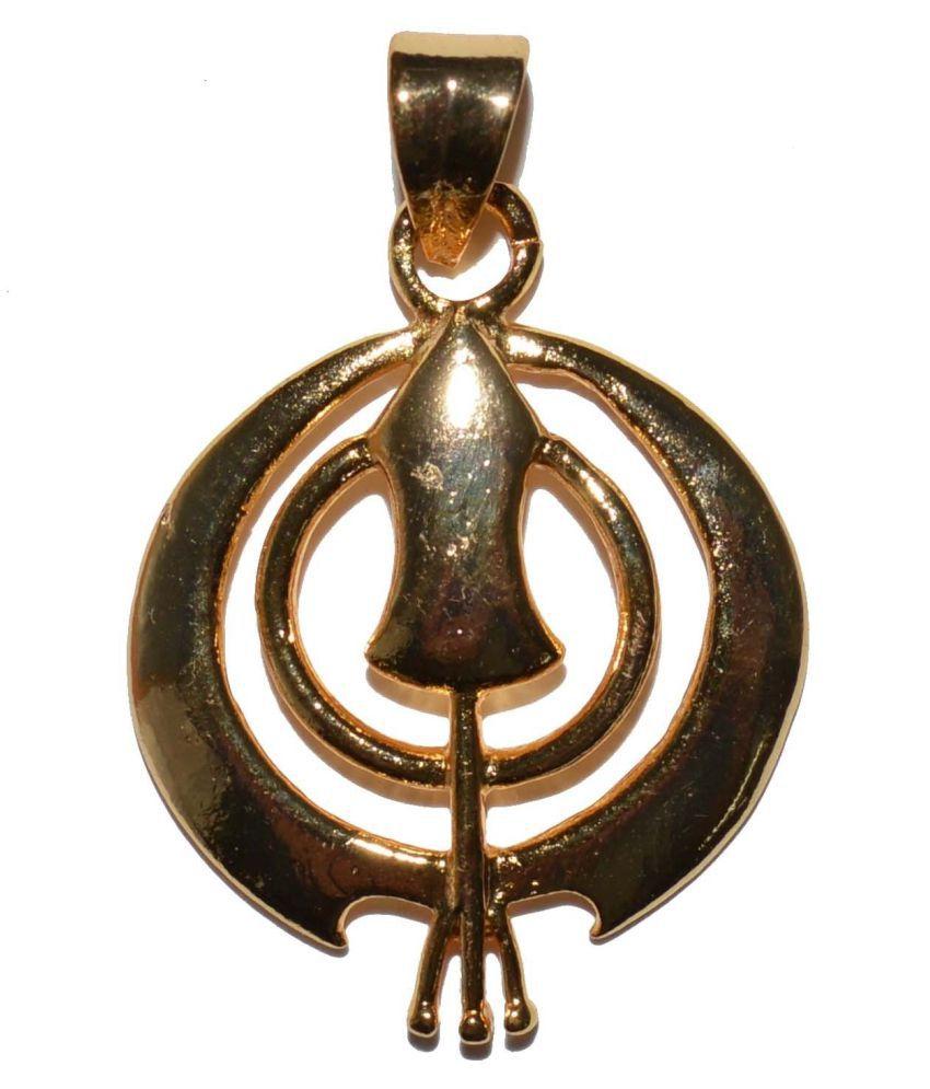 Fabzeel One Gram Gold Plated Pendant Khanda Sikh Symbol Religious