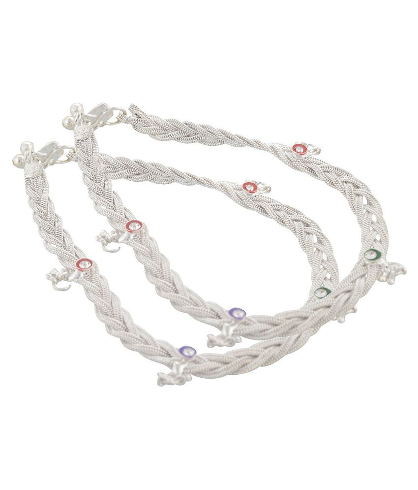 Multicolor Stunning Silver Plated Anklet Payal For Women & Girls