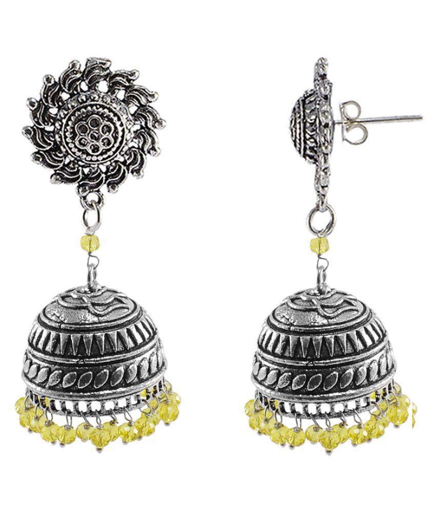 Silvesto India Lemon Crystal Beaded Tribal Hand Crafted Surya Jhumki Earrings PG-108474