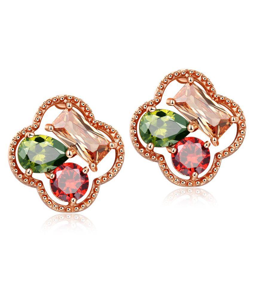 Jewels Galaxy Swarovski Elements Exclusive Sparkling Multicolor Splendid Stud Earrings For Women/Girls