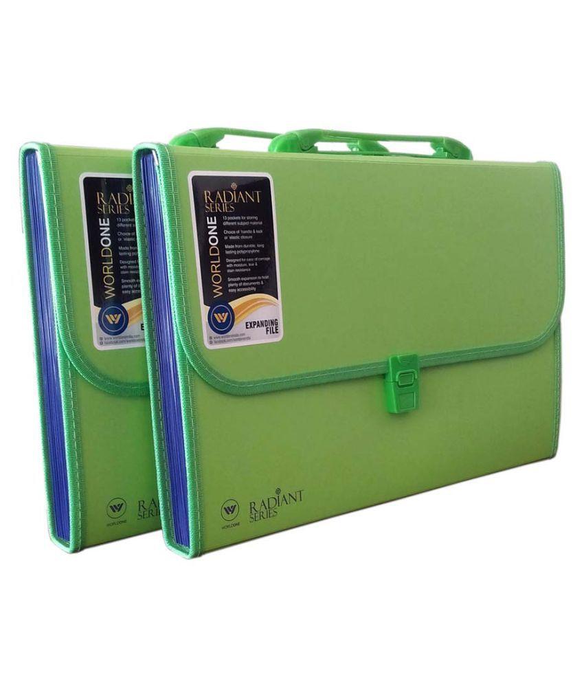 Worldone Expanding File 13 Pockets Green Set of 2