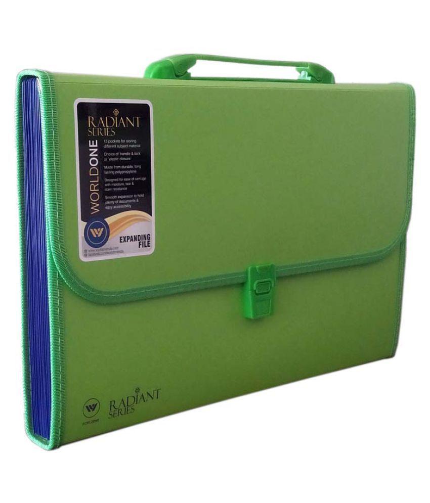 Worldone Expanding File 13 Pockets Green