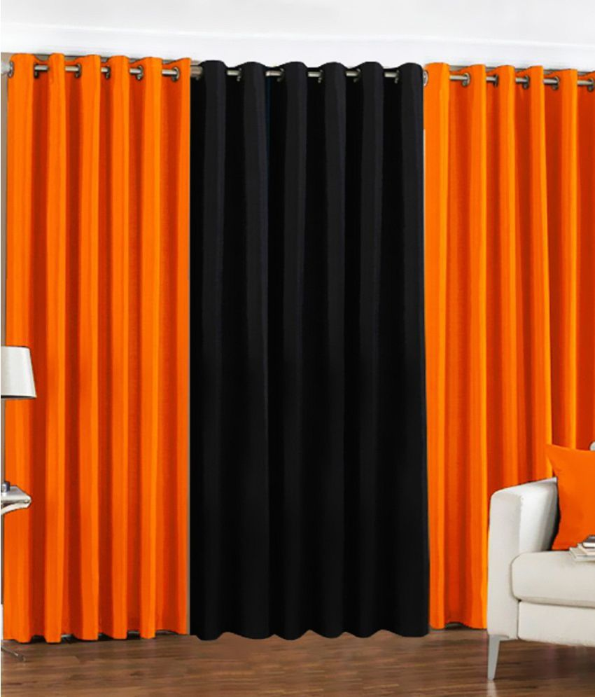 Tanishka Fabs Set of 3 Door Eyelet Curtains Solid Multi Color