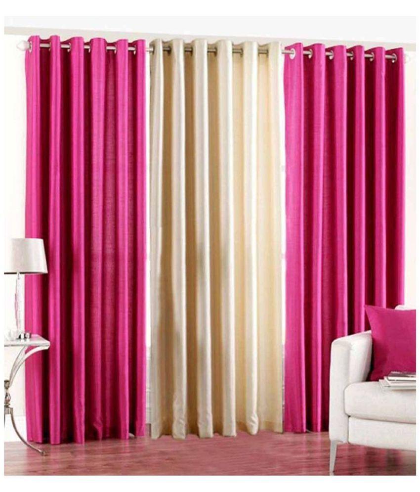 Tanishka Fabs Set of 3 Door Eyelet Curtains Plain Multi Color