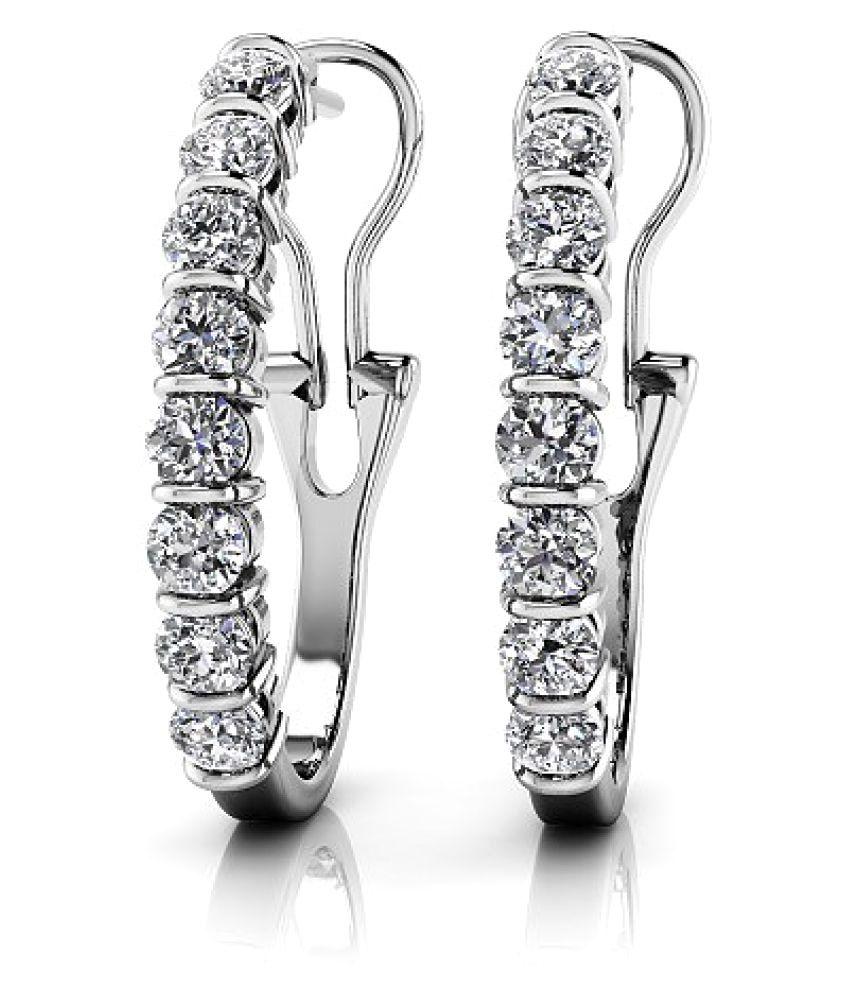 Naitik Jewels 92.5 Silver Cubic zirconia Hoop