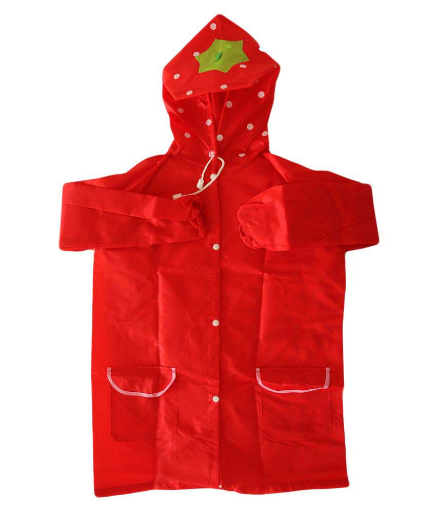 My Baby Things Red Strawberry Unisex Hooded Rain Coat