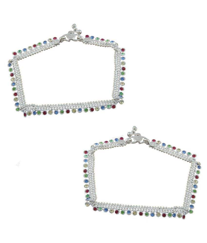 Anuradha Art Silver Finish Styled With Multi Colour Shimmering Stone Traditional Anklet/Payal For Women/Girls