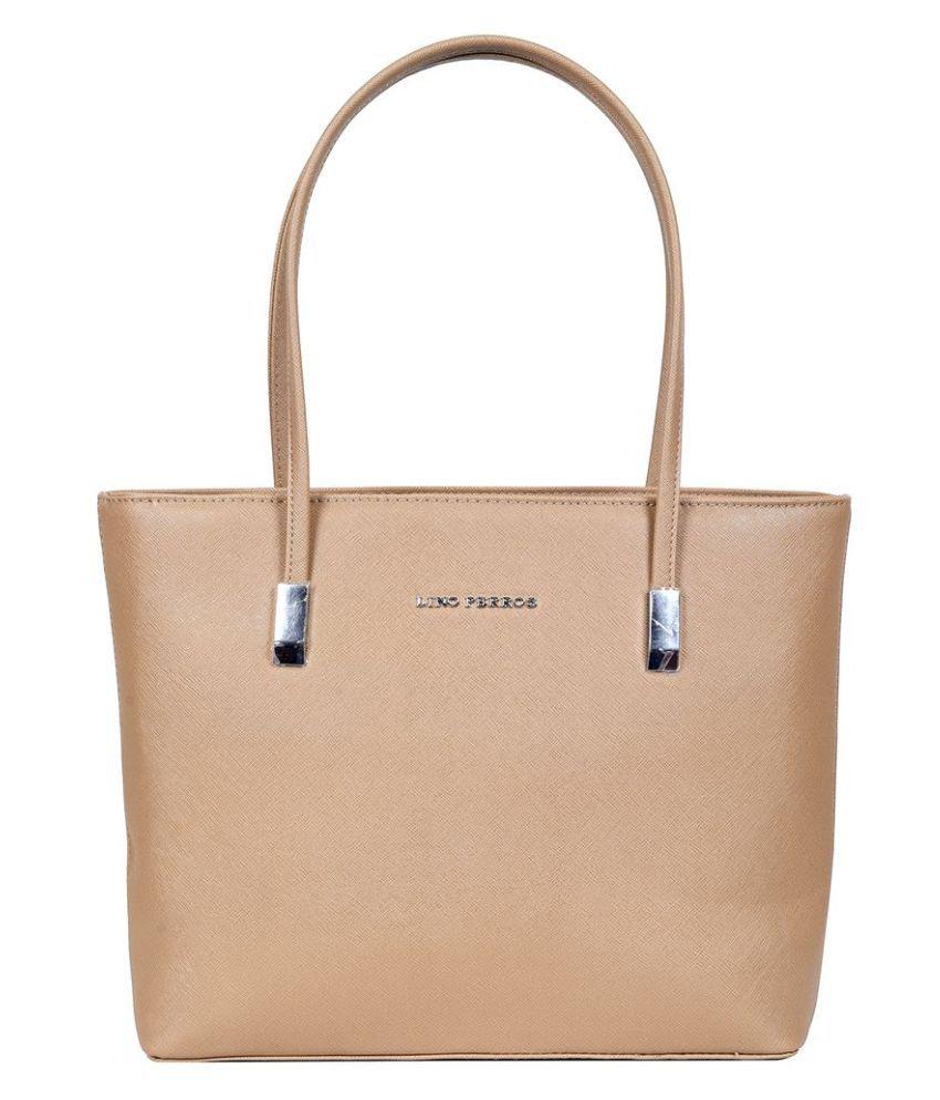 Lino Perros Khaki Faux Leather Shoulder Bag