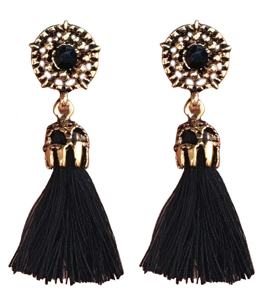 Aashya Mayro Alluring Black Crystal Gold Oxidized Black Tassel Earring For Women girls