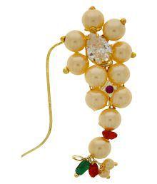 Anuradha Art Crafted Beautiful White Stone With Golden Finish Maharashtrian Nath Nose Ring For Women/Girls
