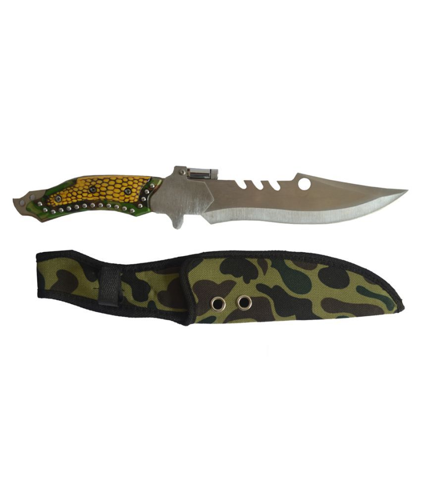 Prijam MM-09 Fixed Blade 33cm Outdoor Knife With LED Torch For Hiking Camping Survival