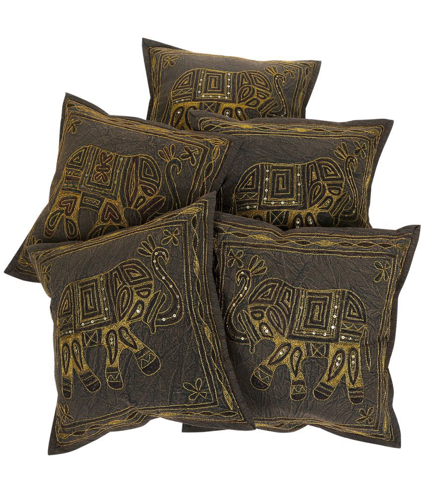 Rajrang Set of 5 Cotton Cushion Covers 40X40 cm (16X16)