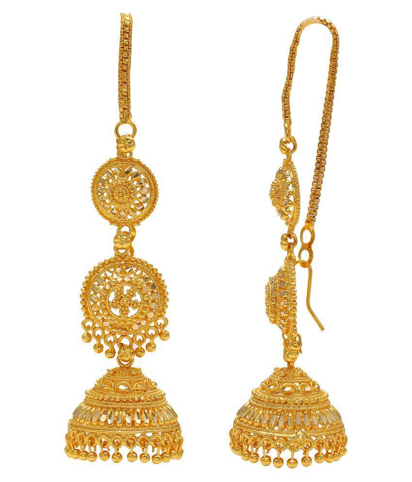 Memoir Brass Gold Earwire Faux Kundan Ethnic Jhumki