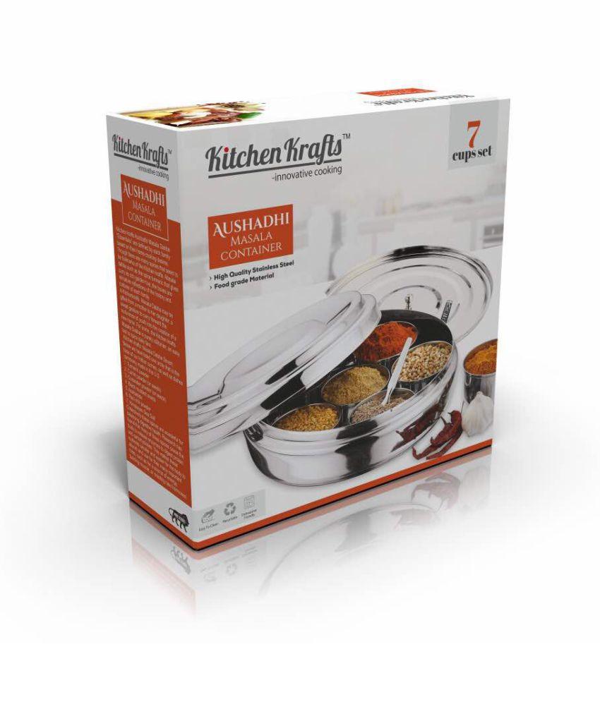 Kitchen Krafts Aushadi Masala Dabba 12 Steel Spice Container Set Of
