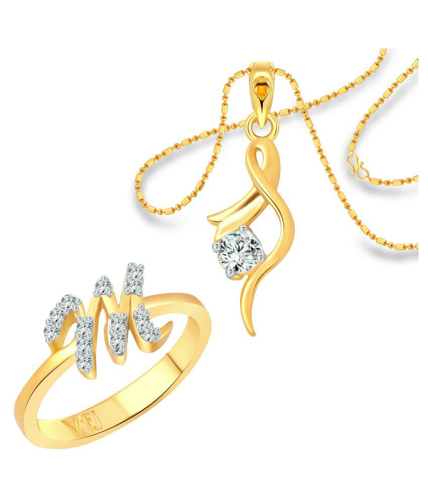 vighnaharta m letter ring with solitaire pendant 1189frg 1214pg