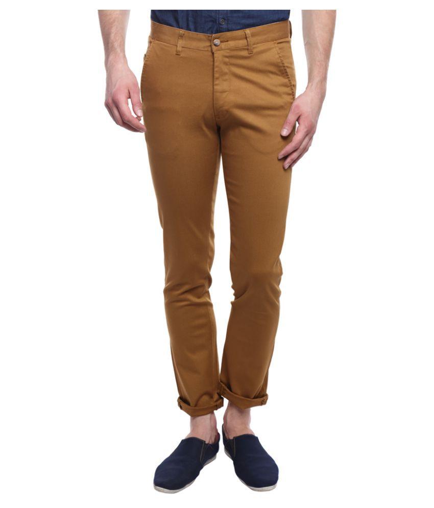 I-Voc Brown Regular -Fit Flat Trousers