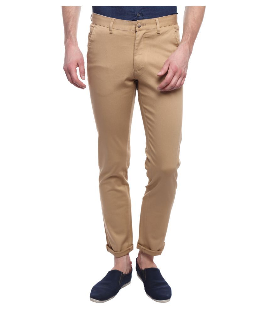 I-Voc Brown Regular -Fit Flat Trousers