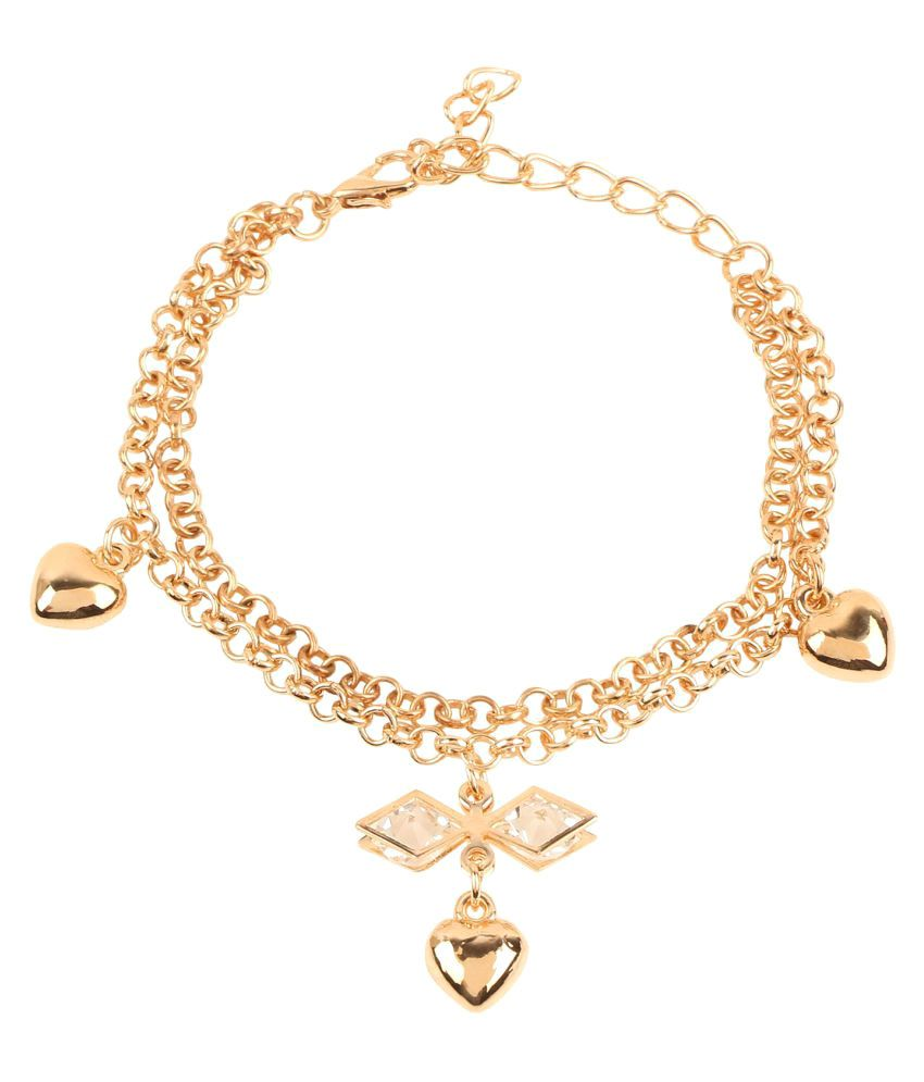 b0ccb88c2fc Archi Collection Designer Jewellery Gold Tone Crystal Adjustable Charms  Bracelet for Girls & Women