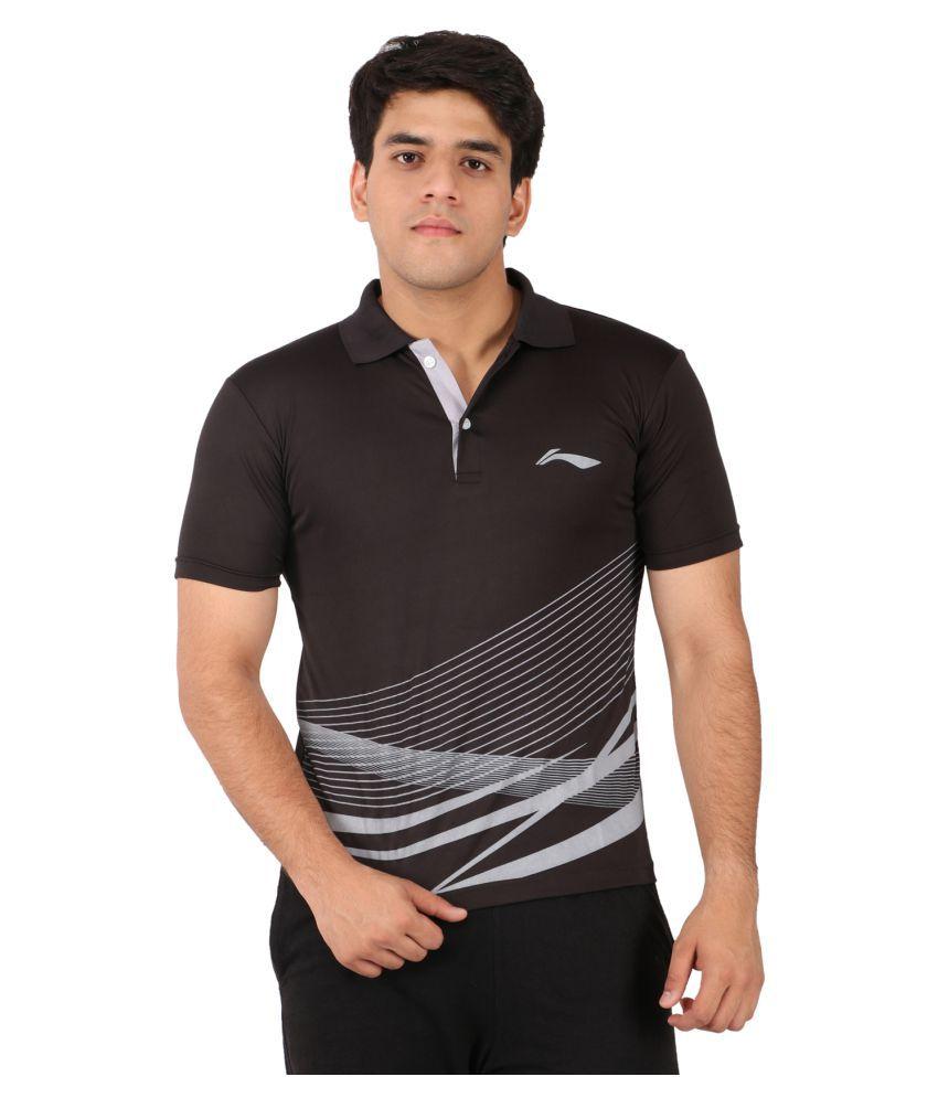 Li-Ning Black Polyester T-Shirt