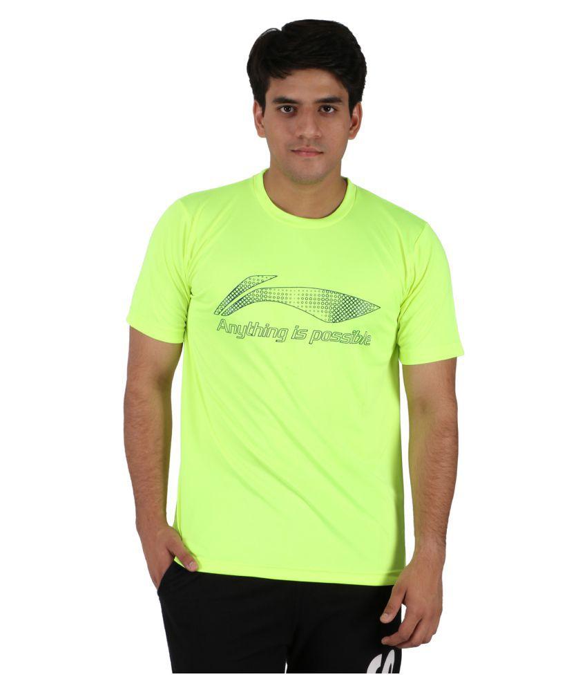 Li-Ning Light Green Polyester T-Shirt
