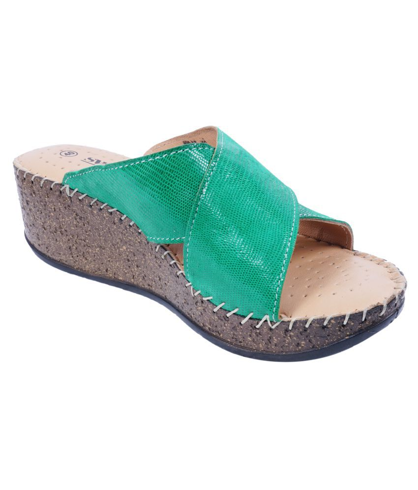 SWANSIND Green Wedges Heels