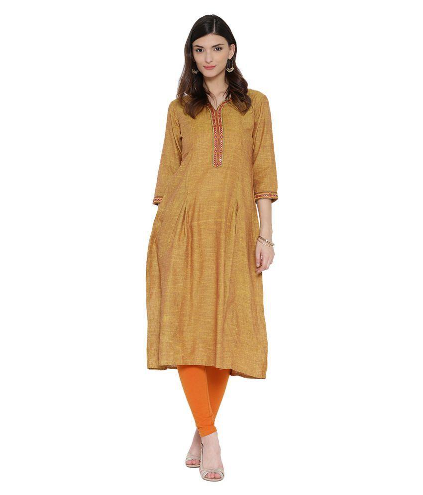 Shree Yellow Cotton A-line Kurti