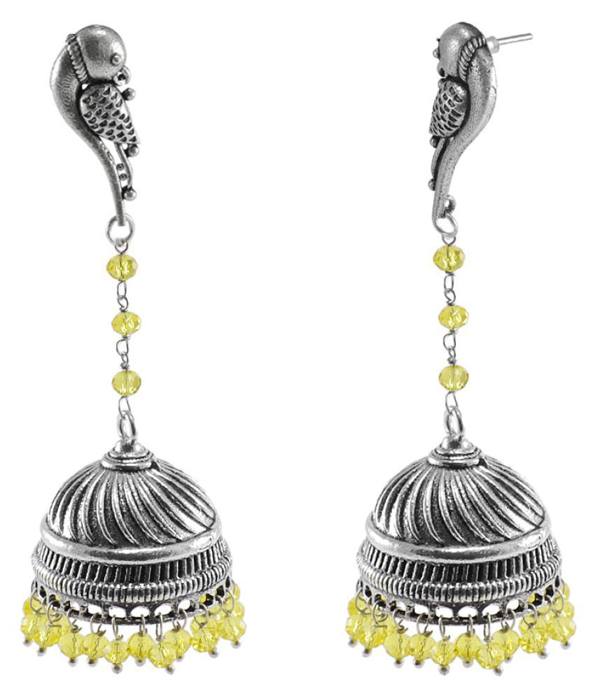 Silvesto India Eternity Wear Silver Polished Jhumka Earring With lemon Crystal Beads Parrot Studs Jhumki PG-109272
