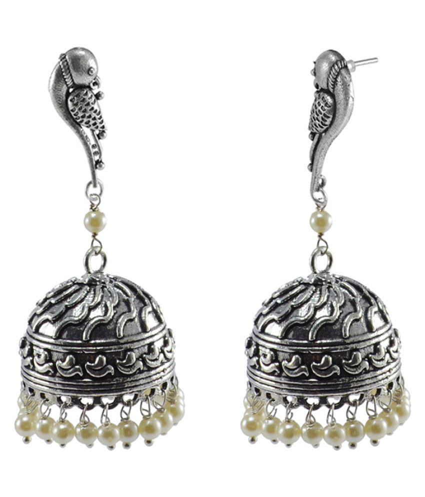 Silvesto India Royal Traditon With Pearls-Dandiya Earrings And Spiritual Parrot Jhumki Jewellery PG-109699