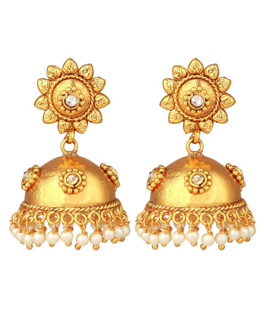 24K Gold Plated Royal Pearl-Stone Jhumki