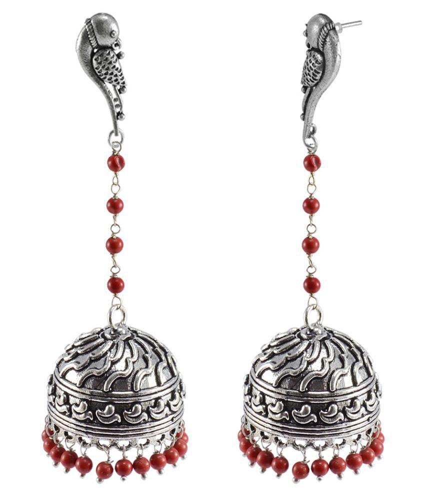 Jaipuri Jhumka-Parrot Stud Oxidized Jhumkai-Dome Shaped Mandmade Coral Dangle Chandelier Earring-Silvesto India PG-109616