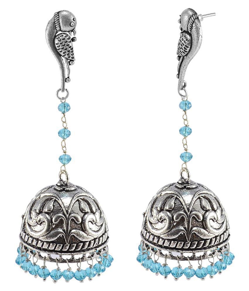 Silvesto India Blue Topaz Crystal Beads With Parrot Studs Jhumka-Oxidized Jhumki Handcrafted Earrings PG-110047