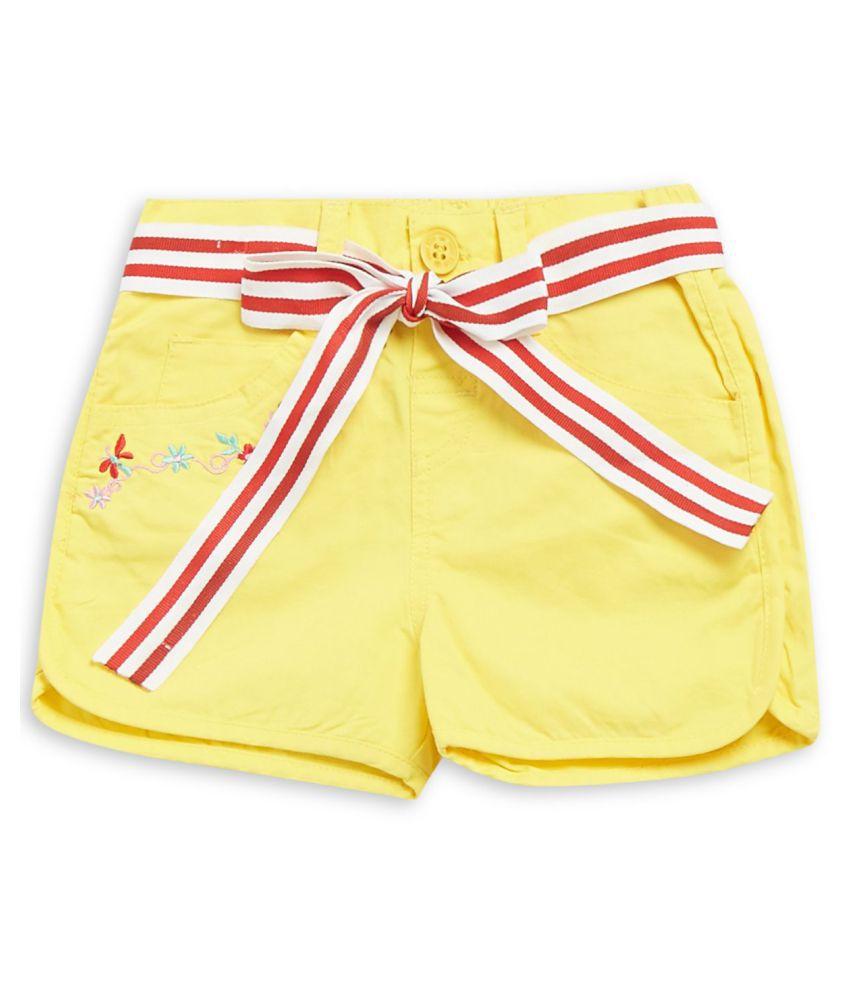 FS MiniKlub Girl's Non Denim Shorts-Yellow
