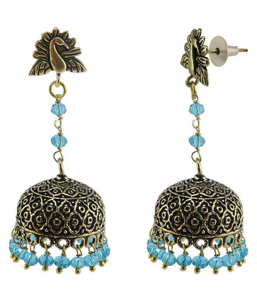 Silvesto India Indian beautiful handmade oxidized Peacock Jhumka Earrings-Blue Topaz Crystal Beads Jaipur Jewellery  PG-110848