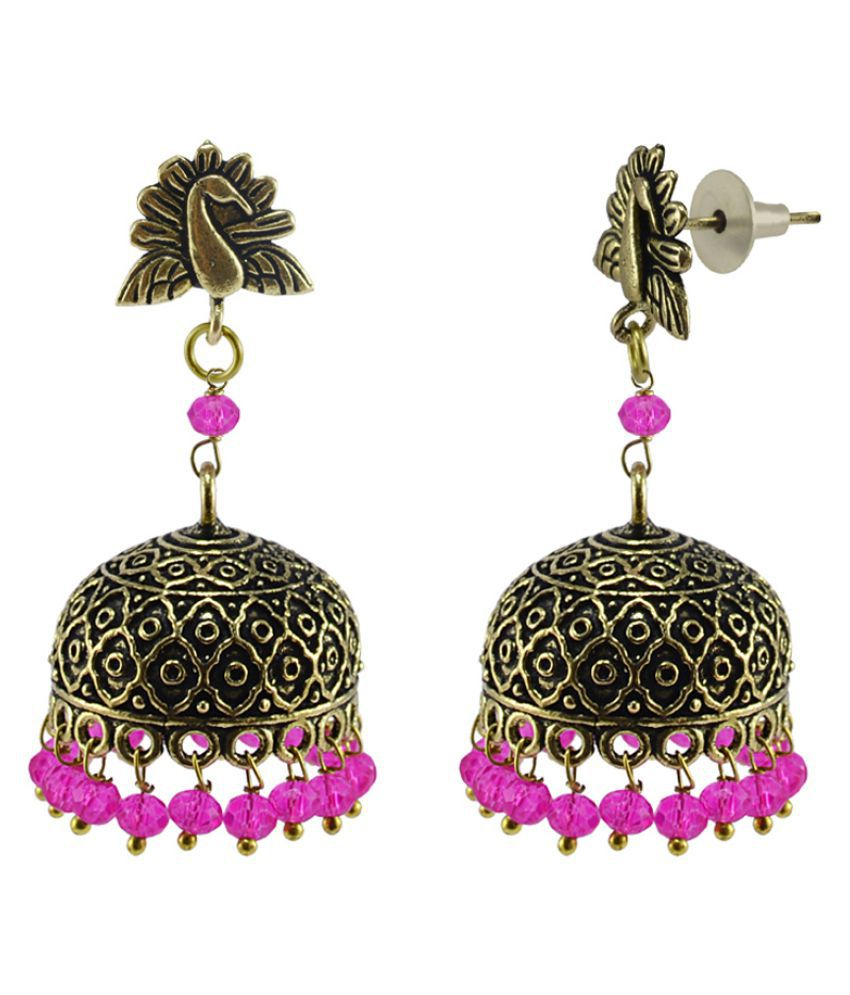 Silvesto India Traditional Style Indian Earrings Crafted in Alloy With Pink Crystals And Peacock Jhumki  PG-110889