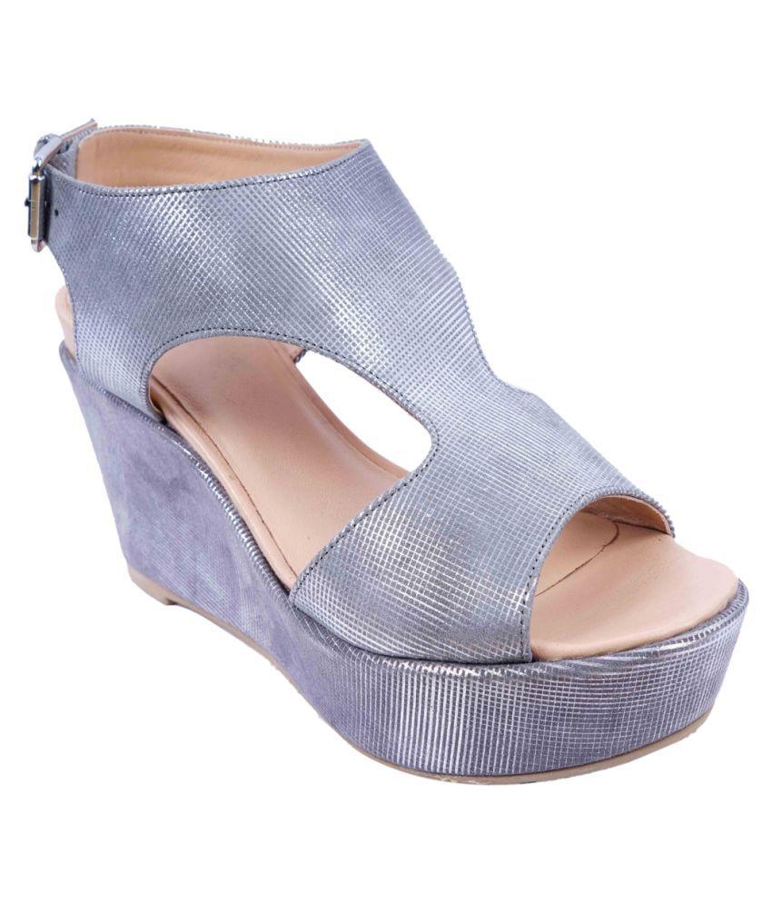 SWANSIND Gray Wedges Heels