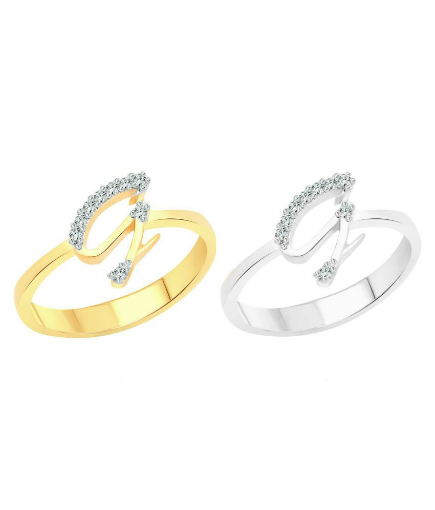 Vighnaharta Genius ''G'' Letter Selfie (CZ) Gold and Rhodium Plated Alloy Combo Ring Set for Women and Girls- [VFJ1181FRSLF11]