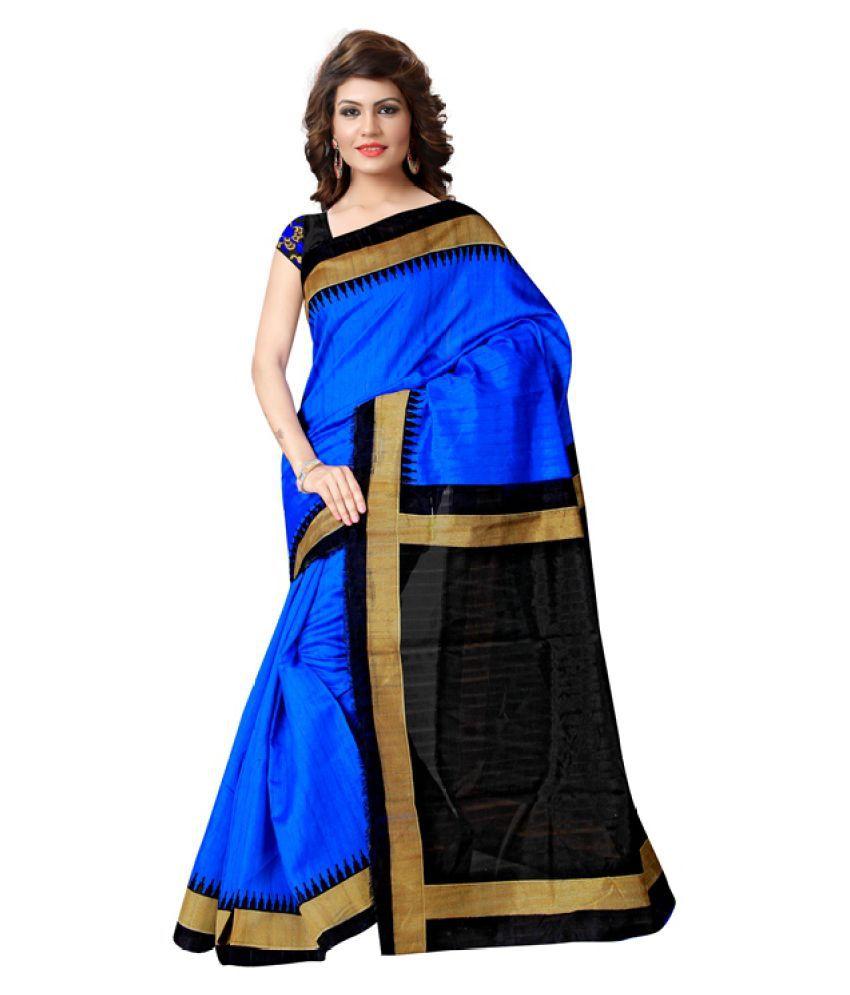 Fashionsurat Blue Bhagalpuri Cotton Saree
