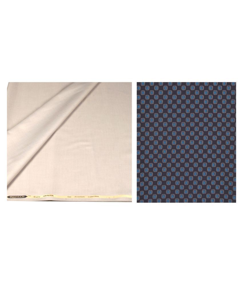 KUNDAN SULZ GWALIOR Beige Cotton Blend Unstitched Shirts & Trousers