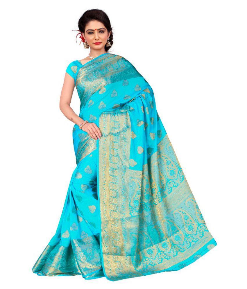 Fashionsurat Turquoise Banarasi Silk Saree