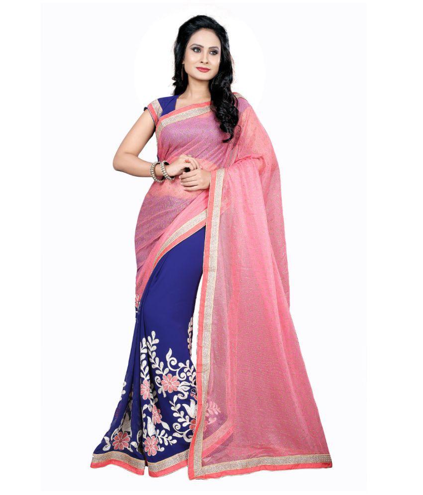 Samarth Fab Pink Lycra Saree