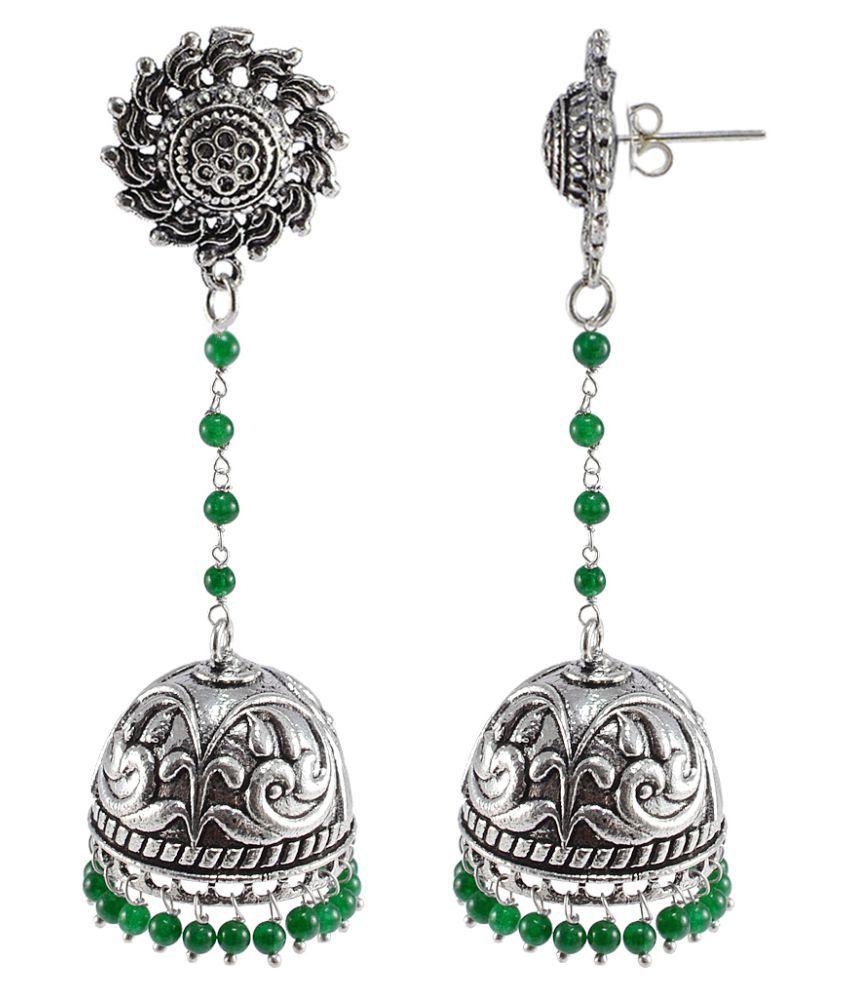 Silvesto India Surya Jhumkas Green Beads Jewellery-Handmade Ethnic Earrings PG-109001