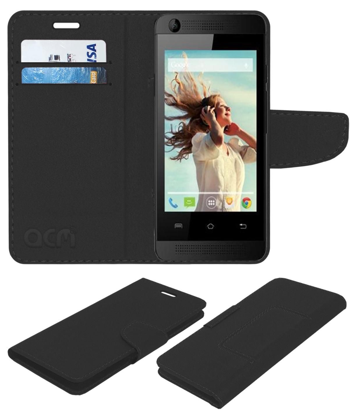 timeless design 2ce75 4b227 Lava Iris 360 Music Flip Cover by ACM - Black
